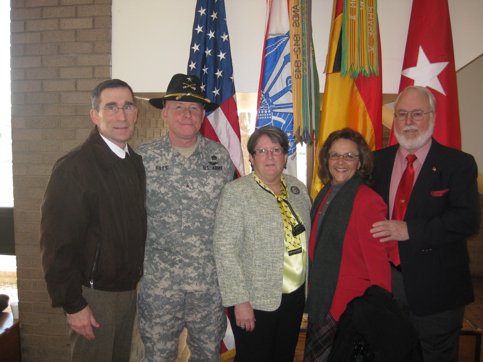 L to R:  Col. Doug Morrison, BG Mike Bills, Megan Bills, Monica Ramsey & Ed Ramsey, Jr.