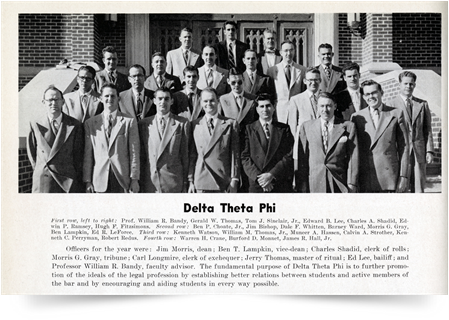 From University of Oklahoma College of Law Yearbook, Delta Theta Phi Fraternity