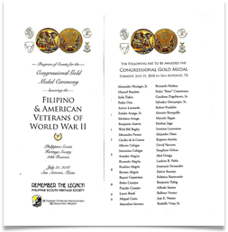 Program from the Congressional Gold Medal Award Ceremony, July 21, 2018