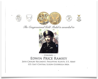 Certificate for the Congressional Gold Medal