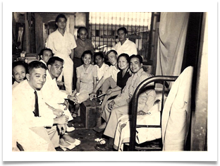 At home of Ador Dionisio in 1946, Ed with ECLGA staff