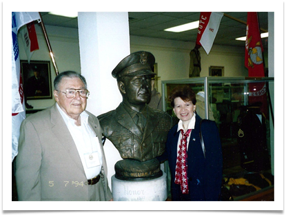 Ed and Raqui with a bust of LTG William Potts, 1994