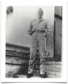"Caption reads: ""With great courage and admiration, Ed.  Taken in 1945, dedicated to one of his men, perhaps Col. Tony Chanco (""Manny"" or ""Manuel"")"
