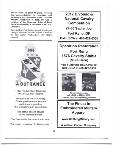Announcement and PR in the US Cavalry Journal