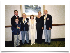 (L to R) Major Bob Seals w son Bobby, Ed, Raqui,Jenny Seals and Gen. Phil Bolte at the Cavalry Banquet.