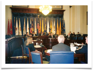 The Congressional Committee on Veterans Affairs (center is Cong. Bob Filner, Chairman.)