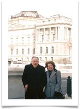 Col. Ed Ramsey with wife Raqui outside the Cannon House Office Bldg.