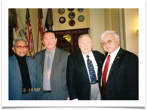 (R to L) Cong. Michael Honda - CA 15th District, Ed, Col. Romy Monteyro, unidentified speaker