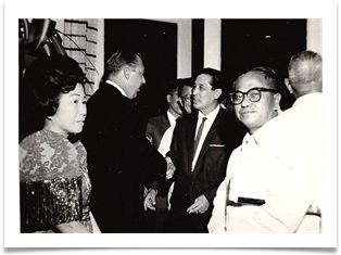 Ed welcoming guests, Malacanang Palace July 5, 1964