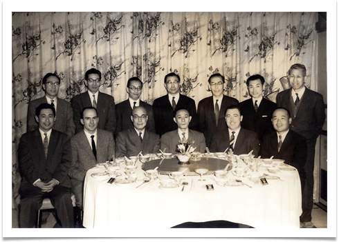 Ed seated 2nd from right with executives from Nippon Electric, Tokyo - April 11 1960.