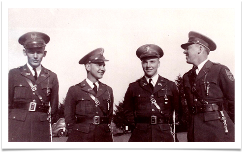 L to R : Arty Walker, Tom Davies, George Koehne and Ed, First Class Guidon 1937