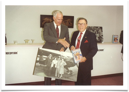 With Ken Richardson, CEO Hughes (ret.) at book inaugural Jan 16, 1990